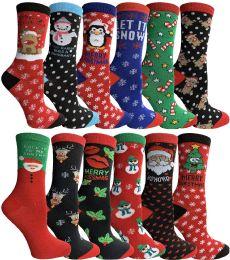 240 Bulk Yacht & Smith Christmas Holiday Crew Socks Assorted Holiday Design Size 9-11