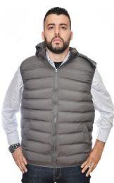 12 Bulk Men's Nylon Synthetic Down Hooded Puffer Vest