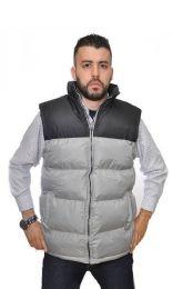 12 Bulk Men's Nylon Synthetic Down Vest With Fleece Lining