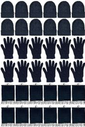 12 Bulk Yacht & Smith Unisex 3 Piece Pre Assembled  Winter Care Set Hat Gloves & Scarf Solid Black