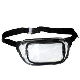 24 Bulk Fanny Packs Clear Transparent Waist Travel Packs In Black