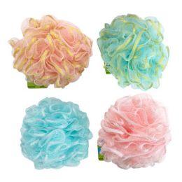 36 Bulk Bath Sponge With Glitter Ribbon 50g 4 Assorted Styles