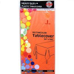 48 Bulk Orange Plastic Tablecover Rectangle