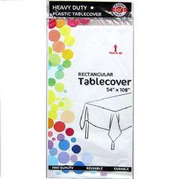 48 Bulk White Plastic Tablecover Rectangle