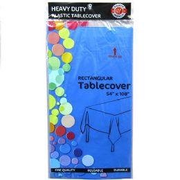48 Bulk Royal Blue Plastic Tablecover Rectangle