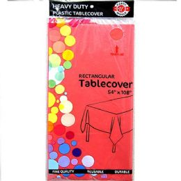 48 Bulk Watermelon Red Plastic Tablecover Rectangle