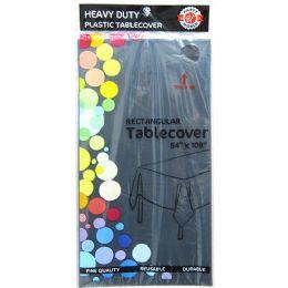 48 Bulk Black Plastic Tablecover Rectangle