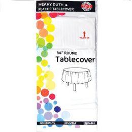 48 Bulk White Plastic Tablecover Round