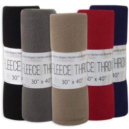 """24 Bulk Fleece Blankets 30"""" X 40"""" - 5 Assorted Colors"""