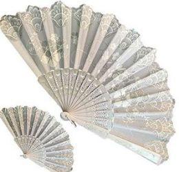 120 Bulk White Glitter Folding Hand Fans
