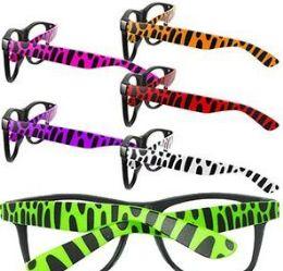 144 Bulk Animal Print Lensless Glasses