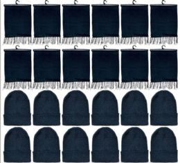 288 Bulk Yacht & Smith Solid Black Color Warm Winter Fleece Scarves And Black Beanie Set Bulk Buy