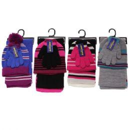 30 Bulk Girls 3-Piece Stripe Set HaT-GloveS-Scarf