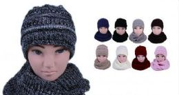 24 Bulk Womens Girls Fashion Winter Warm Knitted Hat And Beanie Set