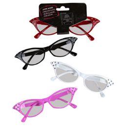 24 Bulk Cat Eyeglasses With Rhinestones