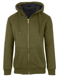 12 Bulk Mens Olive Fleece Line Sherpa Hoodies Assorted Sizes