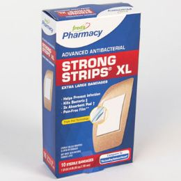 72 Bulk Bandages 10 Count Xl Strong Strips Antibacterial Boxed Freds Pharmacy Label