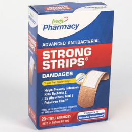 72 Bulk Bandages 20 Count Strong Strips Antibacterial Boxed Freds Pharmacy Label