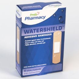 72 Bulk Bandages 20 Count Watershield Plastic Boxed Freds Pharmacy Label
