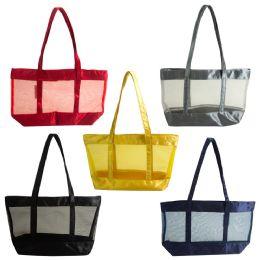 24 Bulk Large Mesh Bulk Tote Bags In 5 Assorted Colors