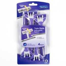 36 Bulk Razors Pivot Head 4 Pack Womens Triple Blade Carded Xtracare