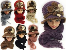 24 Bulk Knitted Women's Winter Hat And Scarf Set Assorted Colors