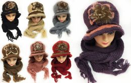 24 Bulk Women's Winter Knitted Hat And Scarf Sets Assorted