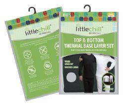 24 Bulk Children's Unisex Thermal Set's In Black With Brushed Fleece Lining