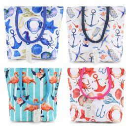 24 Bulk Small Beach Bulk Tote Bags In 4 Assorted Prints