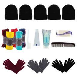 48 Bulk Bulk Case of 12 Gloves, 12 Winter Throw Blankets, 12 Beanies - Wholesale Care Packages