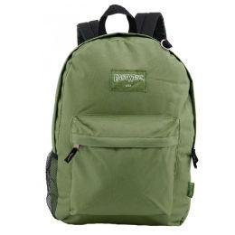 "24 Bulk 18"" Classic Olive Backpacks With Side Mesh Water Bottle Pocket"