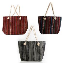 24 Bulk Large Rope Handle Jute Tapestry Tote Bags In 3 Assorted Styles