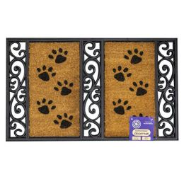 6 Bulk Mat Outdoor Paw Print Coco With Rubber Black Trim