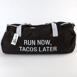 60 Bulk Gym Bag Polyester Run Now Tacos Later Black