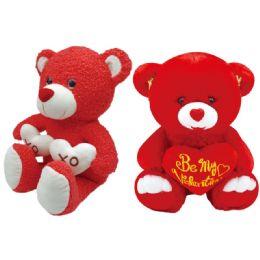 24 Bulk Valentine Plush Bear With Heart Assorted