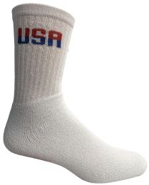 240 Bulk Yacht & Smith Men's Usa White Crew Socks Cotton Terry Cushioned , Size 10-13