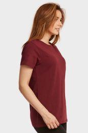 24 Bulk Ladies Classic Fit Crew Neck T-Shirt In Burgundy