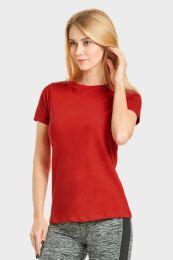 24 Bulk Ladies Classic Fit Crew Neck T-Shirt In Red