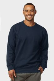 12 Bulk Mens Light Weight Fleece Sweatshirts In Navy Size Medium