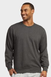12 Bulk Mens Light Weight Fleece Sweatshirts In Charcoal Grey Size X Large