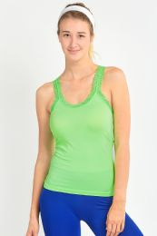 72 Bulk Sofra Ladies Racerback Camisole With Lace In Neon Lime