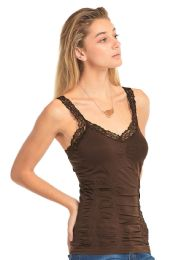 72 Bulk Mopas Ladies Wrinkled Camisol With Lace In Brown