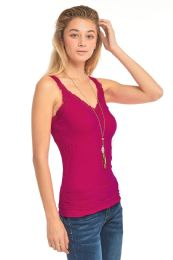 72 Bulk Mopas Ladies Wrinkled Camisol With Lace In Burgandy