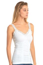 72 Bulk Mopas Ladies Wrinkled Camisol With Lace In White