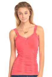 72 Bulk Mopas Ladies Wrinkled Camisol With Lace In Fuschia