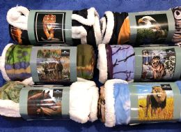 "18 Bulk Amalfi Sherpa Animal Throw Blanket 50""x60"""