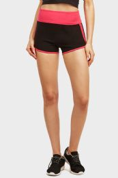 36 Bulk Mopas Ladies TwO-Tone Dolphin Shorts In Pink And Black
