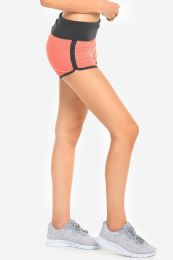 36 Bulk Mopas Ladies Two Tone Dolphin Shorts In Grey And Coral