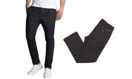 24 Bulk Men's SliM-Fit Cotton Stretch Chino Pants Solid Black