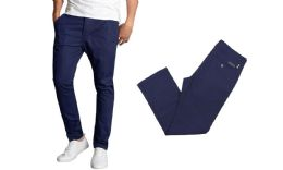 24 Bulk Men's SliM-Fit Cotton Stretch Chino Pants Solid Navy